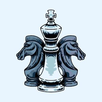 De koning en ridders geïsoleerd op blauw