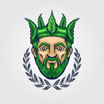 De koning van de kroon cannabis logo mascotte illustraties