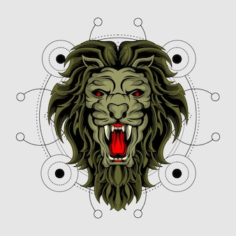 De koning van het beest met heilige geometrie
