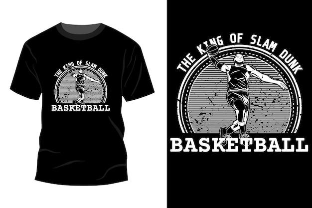 De koning van slam dunk basketbal t-shirt mockup ontwerp silhouet