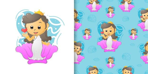 De koningin van de zeemeermin staat op de schelp op de patroonreeks