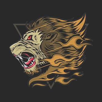 De kop van de leeuw brulde van woede en hij had haar van vuur.