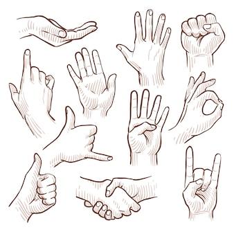 De krabbelhanden die van de lijntekening gemeenschappelijke tekens vectorinzameling tonen. gebaarhand voor mededeling, illustratie van het schetsen van handen