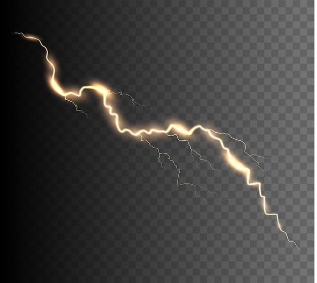 De kracht van bliksem en schokontlading, donder, uitstraling. thunder bolt geïsoleerd.