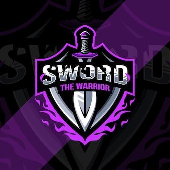 De krijger zwaard mascotte logo esports ontwerpsjabloon