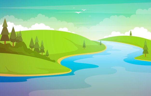 De kronkelende illustratie van forest nature rural nature landscape van de rivierberg