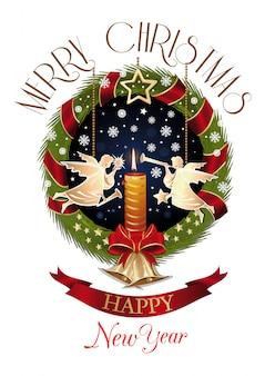 De kroon van de spar van kerstmis met engelen, gouden klokken en een brandende kaars. vrolijk kerstfeest en een gelukkig nieuwjaar.