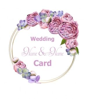 De kroon van het huwelijk met pioen bloeit waterverf