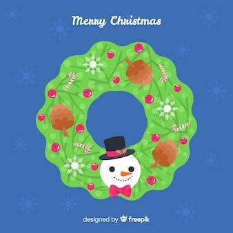 De kroon van kerstmis met sneeuwman