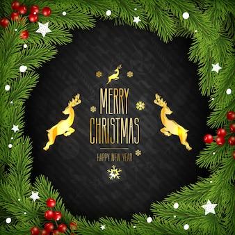 De kroon van kerstmis op zwarte achtergrond. dennen takken, bessen