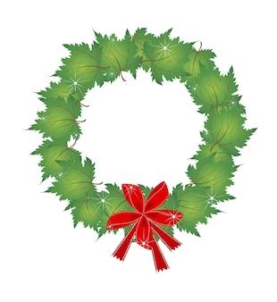 De kroon van kerstmis van groene esdoorn bladeren en strikken