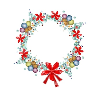 De kroon van kerstmis van kerstballen en rode bogen