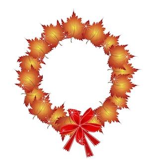 De kroon van kerstmis van oranje esdoorn bladeren en bogen