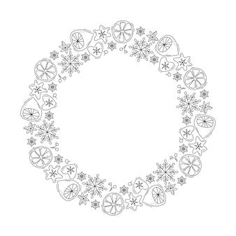 De kroon van kerstmismonoline met citroen, sneeuwvlokken en bessen