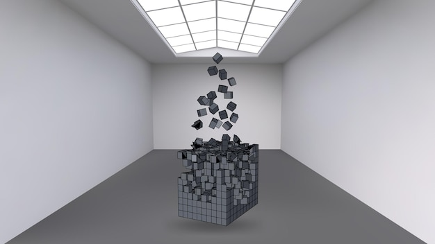 De kubus ophangen aan een veelvoud van kleine polygonen in de grote lege ruimte. expositieruimte met abstracte kubieke vormen. de kubus op het moment van explosie is verdeeld in fijne deeltjes.