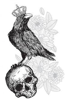 De kunstkraai die van de tatoegering een kroon op een schedel draagt
