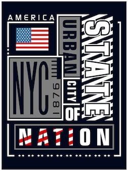 De kunsttypografie van new york, vector grafische illustratie