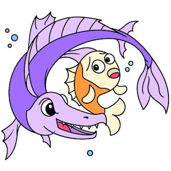 De kwade vis probeert de droevige en bange kleine vis te doden, doodle kawaii tekenen. vector illustratie kunst