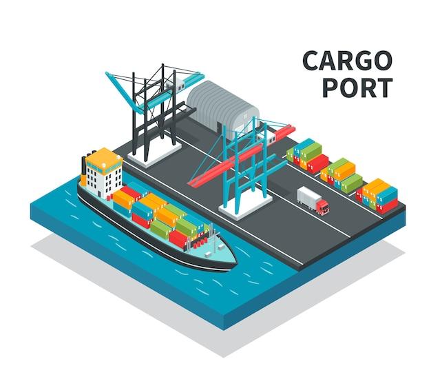 De ladingshaven met ladingsfaciliteiten kleurt containerschip met illustratie van de vrachtwagens de isometrische samenstelling