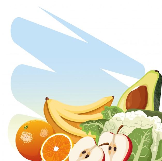 De landbouw bloemkool van de verse oogstavocado oranje banaan