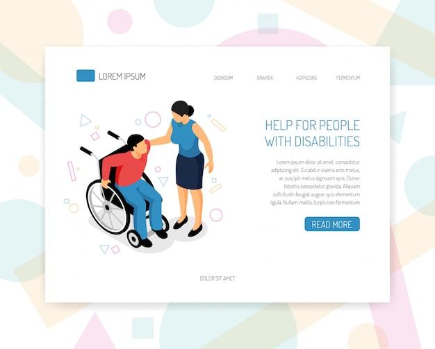 De landingspagina of het websjabloon met gehandicapten helpen organisatiesvrijwilligers die fondsenwerving isometrisch web-pagina opleiden met het verstrekken van rolstoelhulp vectorillustratie