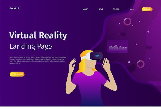 De landingspagina-sjabloon voor virtual reality kan worden gebruikt voor websites