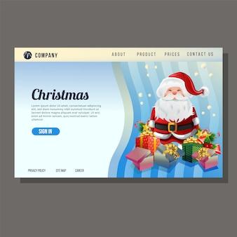 De landingspagina van de kerstmiswebsite de blauwe achtergrond van de kerstman