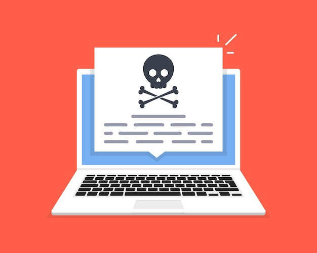 De laptop is gehackt. schedelbericht op computerscherm. concept van virus, piraterij, hacking en beveiliging