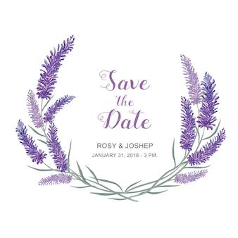 De lavendel bloeit waterverf. bloemen en bladeren op een witte achtergrond voor uitnodiging of wedd