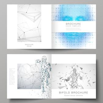 De lay-out van twee coversjablonen voor vierkante tweevoudige brochure, kunstmatige intelligentie