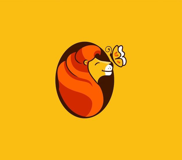 De leeuw gromt koning, logo. stripfiguur, logo