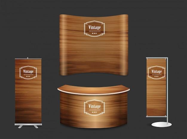 De lege achtergrond van de de tribune houten textuur van de beursstandtentoonstelling