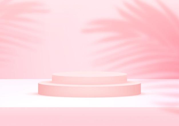 De lege roze achtergrond van de podiumstudio met palmbladen voor productvertoning.