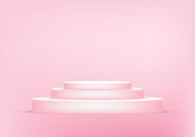 De lege roze achtergrond van de podiumstudio voor productvertoning met exemplaarruimte.