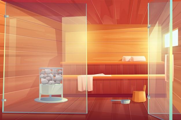 De lege ruimte van de sauna met houten badhuis van glazen deuren