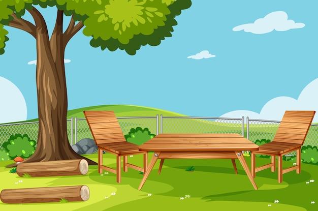 De lege scène van de natuurparkpicknick