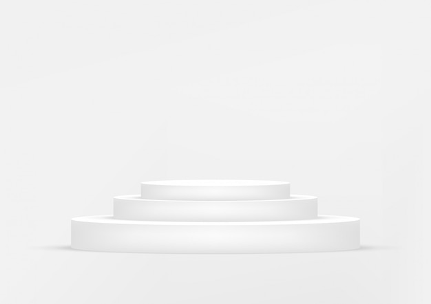 De lege witte achtergrond van de podiumstudio voor productvertoning met exemplaarruimte.