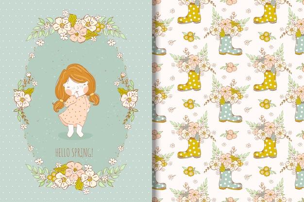 De lente bloeit illustratie met leuk meisje naadloos patroon