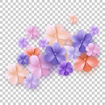 De lente bloeit kleurrijke reeks die op witte achtergrond wordt geïsoleerd. collectie van madeliefje en zonnebloemen met verschillende kleuren voor de lente als grafische elementen en decoraties.