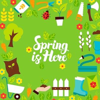 De lente is hier belettering briefkaart. vectorillustratie van vlakke stijl natuur tuin poster.