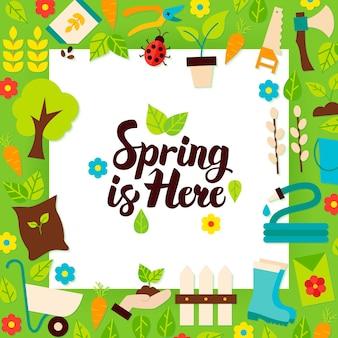 De lente is hier papieren sjabloon. vector illustratie vlakke stijl natuur tuin poster met belettering.