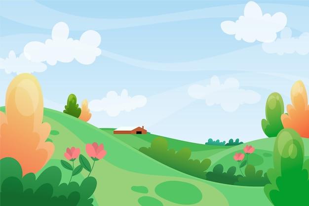 De lente ontspannend landschap met groene heuvels en blauwe hemel