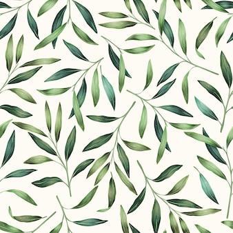 De lente verlaat hand getrokken naadloos patroon. botanische achtergrond.