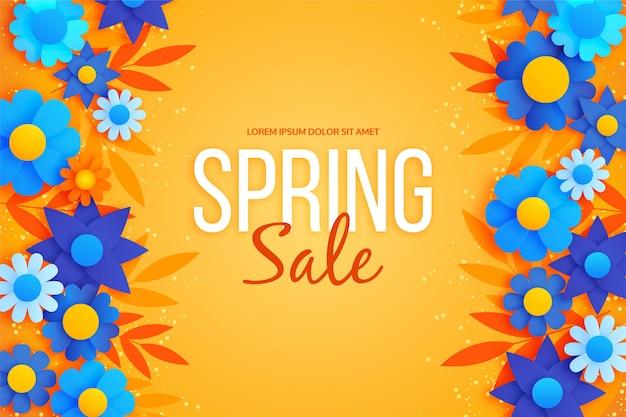 De lenteachtergrond in kleurrijke document stijl en blauwe bloemen