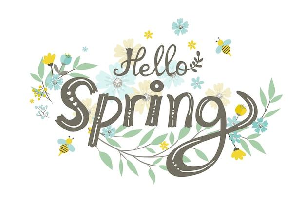 De lenteachtergrond met bloemen en bladeren