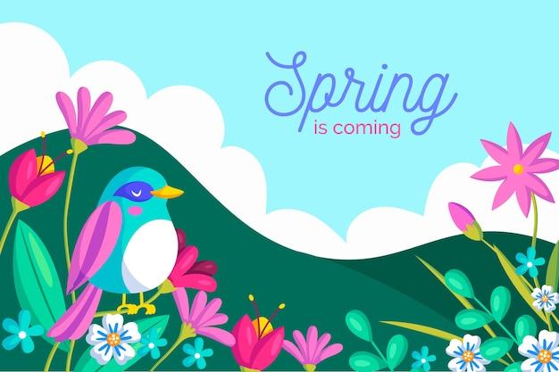 De lenteachtergrond met bloemen en vogel