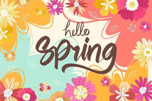 De lenteachtergrond met kleurrijke bloemen
