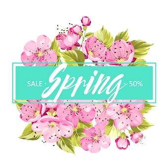 De lenteachtergrond met sakura-bloemen.