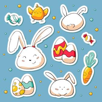 De lenteinzameling van gelukkige pasen-symbolen en konijntjeskarakters