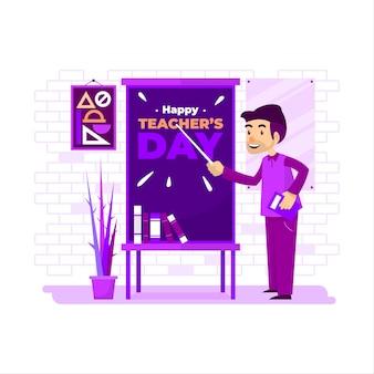 De leraar geeft les terwijl hij lacht voor het bord. ontwerp kan worden gebruikt voor posters, banners, wenskaarten of sociale media